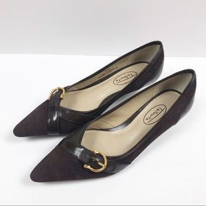 Talbots Brown Leather Pointed Toe w/ Buckle Heels